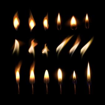 ろうそくの炎のセットと動きの火のイラスト