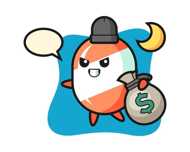 Иллюстрация конфеты мультфильма украденные деньги