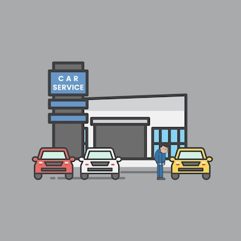 Illustration of car garage set