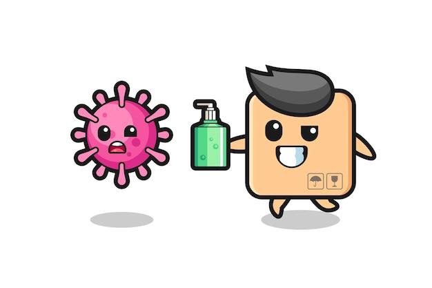 손 소독제로 사악한 바이러스를 쫓는 판지 상자 캐릭터의 그림, 티셔츠, 스티커, 로고 요소를 위한 귀여운 스타일 디자인
