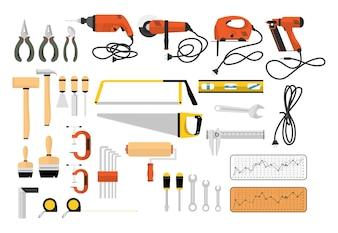 Illustration of carpenter tools