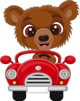 Иллюстрация мультяшного медвежонка за рулем красной машины