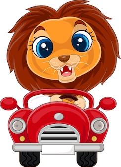 赤い車を運転する漫画の赤ちゃんライオンのイラスト