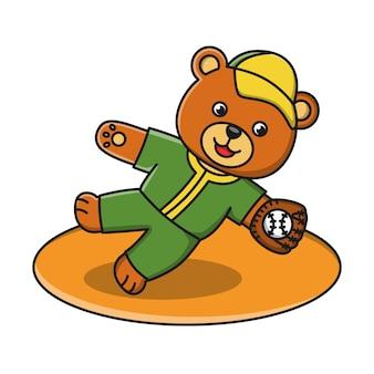 Иллюстрация мультяшный медведь играет в бейсбол