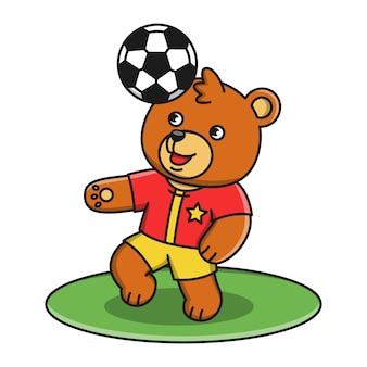 Иллюстрация мультфильм медведь играет в футбол