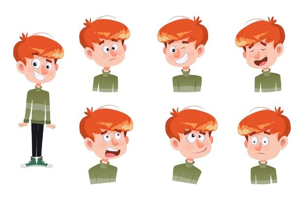 漫画の男の子のステッカーセットのイラスト