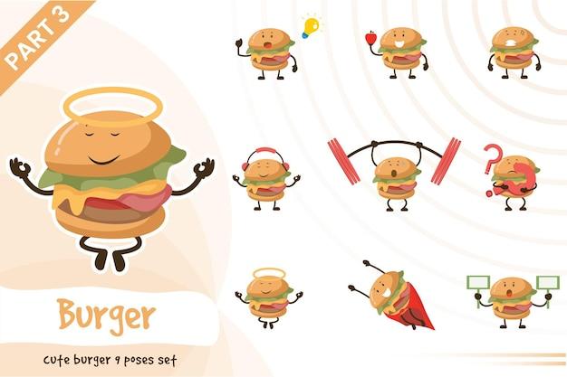 Иллюстрация мультфильм бургер позы набор.