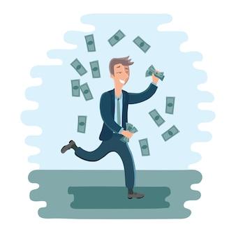 彼の手にお金を持って男を踊る漫画のビジネスマンのイラスト
