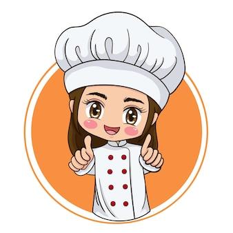 Иллюстрация мультипликационного персонажа женского шеф-повара