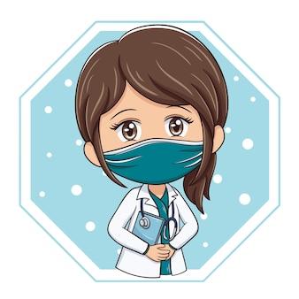 만화 캐릭터 여성 의사의 그림