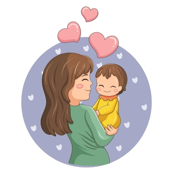 만화 캐릭터 엄마와 아기의 그림