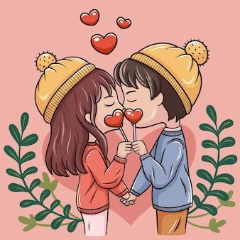 バレンタインの日の漫画のカップルのイラスト