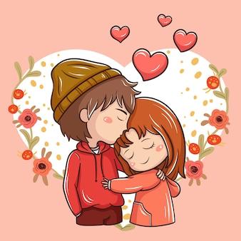 Иллюстрация мультяшной пары в день святого валентина