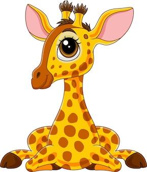 Иллюстрация мультфильм милый ребенок жираф сидит