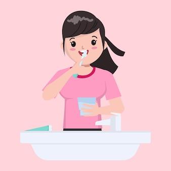Иллюстрация мультфильм милая девушка, чистящая зубы