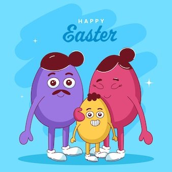 행복 한 부활절 개념에 대 한 파란색 배경에 만화 계란 가족 캐릭터의 그림.