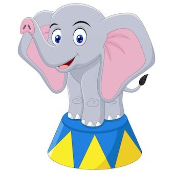 Иллюстрация мультяшный слон в цирке