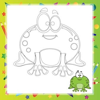 Иллюстрация мультяшной лягушки - книжка-раскраска - вектор