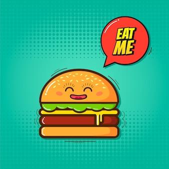 エンブレムが付いている漫画面白いハンバーガーのイラストは私を食べます。