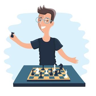 Иллюстрация мультяшного забавного шахматиста игрок играет в шахматы