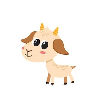 漫画面白いヤギ、かわいい、面白いヤギ、動物のキャラクターのイラスト