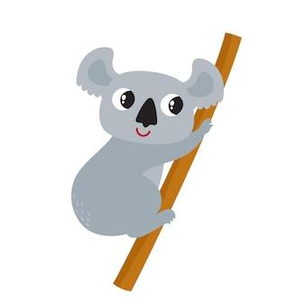 白い背景で隔離の漫画面白いコアラのイラスト。雑誌、本、ポスター、カード、ウェブページに使用されるかわいい、面白い動物、クマのキャラクター。