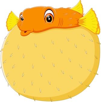 漫画の面白いフグの魚のイラスト