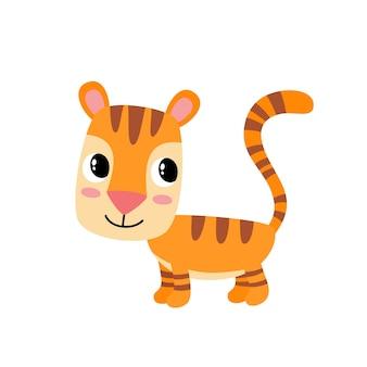 白い背景で隔離の漫画面白い虎のイラスト。雑誌、本、ポスター、カード、ウェブページに使用されるかわいい、面白い動物、猫のキャラクター。