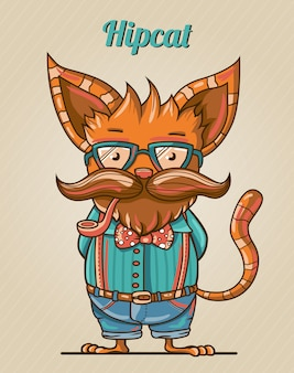 漫画のヒップスタースタイルの猫のイラスト