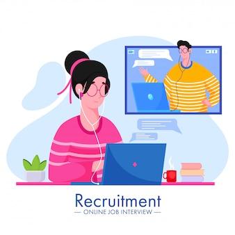 オンラインの就職の面接募集コンセプトのためにお互いを呼び出すビデオを取る漫画男と女のイラスト。