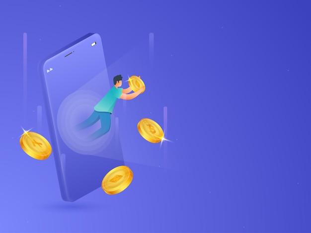 暗号通貨の概念の青い背景の上のスマートフォンを介して黄金のイーサリアムコインをキャッチ漫画の男のイラスト。