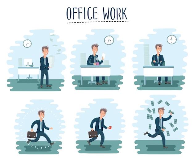 Иллюстрация персонажа из мультфильма офисного работника в цикле офисной работы