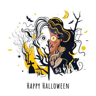 漫画の魔女や女性の幽霊のイラスト