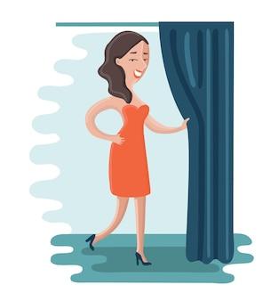 만화 여자의 그림은 빨간 드레스에 노력하고 피팅 룸에서 커튼을 당기고 있습니다.