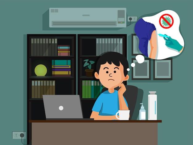 Иллюстрация мультфильм молодой человек думает о вакцине на рабочем месте.