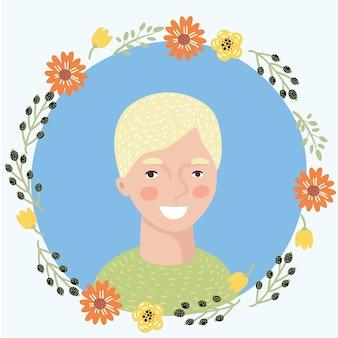 漫画の若い女性の顔のアイコンのイラスト