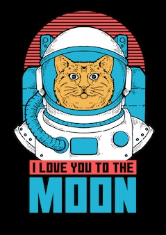 Иллюстрация кота астронавта готовы сделать освоение космоса.