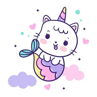 Иллюстрация мультяшный кот русалка в роге единорога