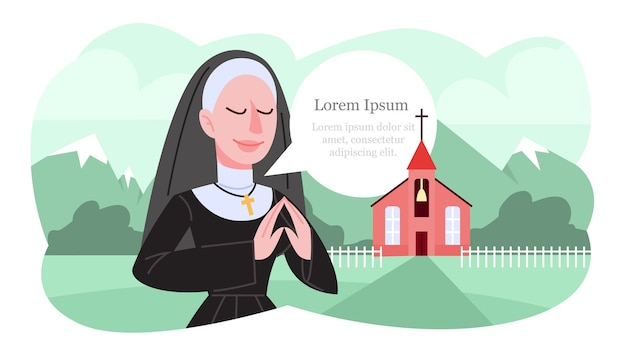 伝統的な黒い服で祈るカトリックの修道女のイラスト。