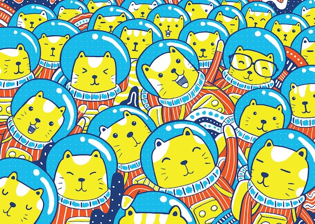 Иллюстрация кошек-космонавтов в мультяшном стиле