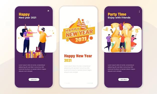 オンボード画面のコンセプトで新年を祝うイラスト