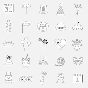 Illustration of celebration party icons set