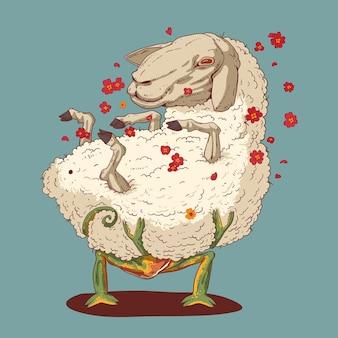 羊と恋にカメレオンのイラスト