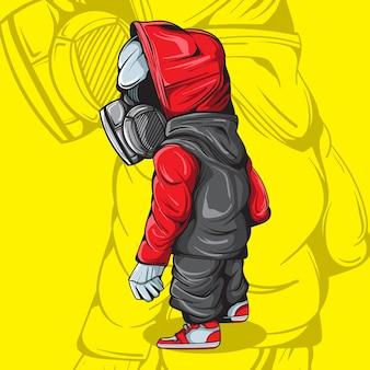 Иллюстрация персонажа с газмаской и городской улицкой