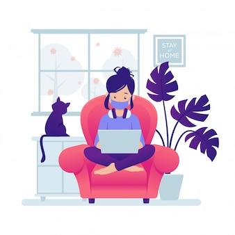 코로나 바이러스 예방을 위해 집에서 컴퓨터로 작업하는 캐릭터의 일러스트