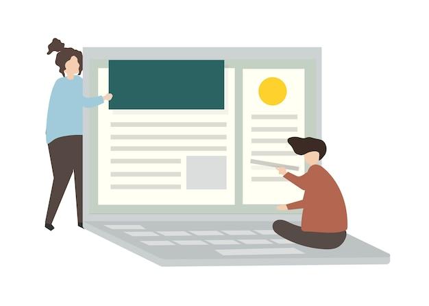 Иллюстрация персонажей, проектирующих веб-страницы