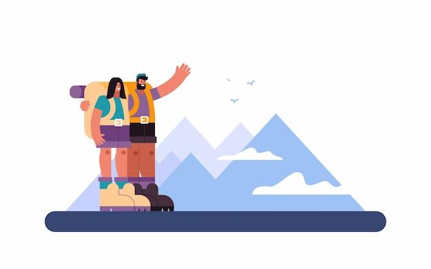 Иллюстрация веселого мужчины, обнимающего подругу и показывающего горы женщине во время поездки по высокогорью в летний день в сельской местности