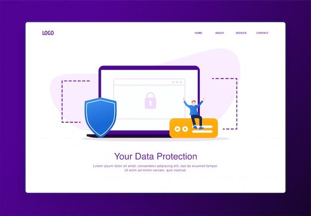 Иллюстрация жизнерадостного человека сидя на внешнем жестком диске с компьтер-книжкой и экраном. современный плоский дизайн концепции безопасности, шаблон целевой страницы.