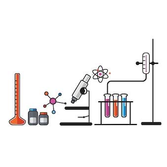 Illustration of chemistry laboratory instruments set