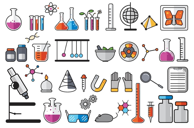 화학 실험실 악기 세트의 그림